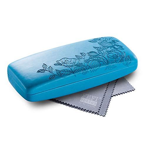 FEFI - Hardcase Brillenetui im geprägten Blumen-Design - inklusive Brillenputztuch/Microfasertuch (Blau)