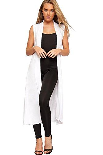 WearAll - Damen Lang Maxi Geöffnet Ärmellos Top Jacke Kragen Ebene Strickjacke - Weiß - 36-38 (Weiß Ebene)