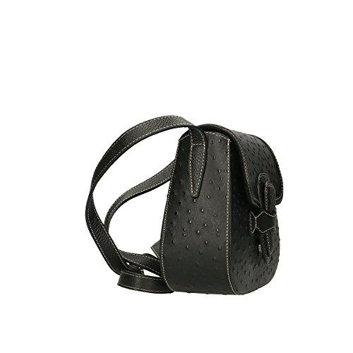 Chicca Borse Borsa a tracolla in pelle 25x20x9 100% Genuine Leather Nero