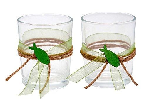 ZauberDeko 2X Teelichtglas Kommunion Konfirmation Tischdeko Fisch Grün Vintage Jonas
