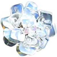 Anello pietra di luna Chic-Net anello in argento placcato con il bianco e la luce fiore blu (diametro di circa 3-5cm) di bianco-luce blu pietre di luna-mano-regolabile