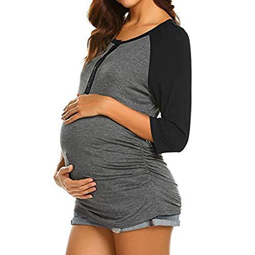 FIRSS Frauen Umstandsshirt,Patchwork Umstandsmode Seitliche Raffung Knopf Shirt Kleidung Stilltop Schwangerschaft Umstandstop Casual Tops