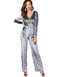 94f65240a2 YourPrimeOutlet Grey Womens Tall Katie Pleated Velvet Wide Leg Wrap Jumpsuit