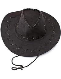 Sombrero - SODIAL(R)Retro Unisex Sombreros accesorio del vestido de lujo de Rodeo de vaqueros de Oeste Salvaje de Mezclilla negro