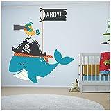 azutura Pirat Wandtattoo Wal und Papagei Tier Wand Sticker Bad Kinderzimmer Wohnkultur Erhältlich in 8 Größen X-Groß Digital