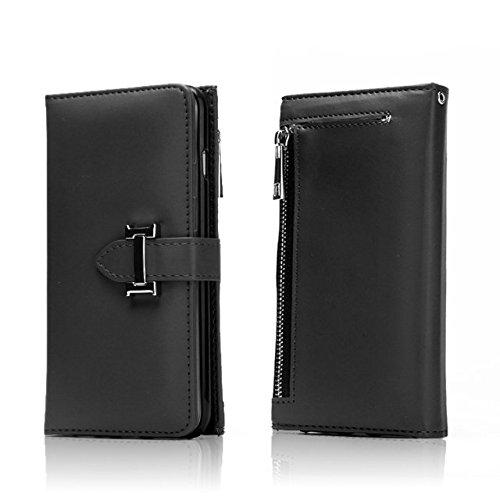 Solid Color Premium PU Ledertasche mit Magnetverschluss & Abnehmbare Rückseite & Reißverschluss Tasche für iPhone 7 ( Color : White ) Black