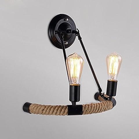 Cuerda de cáñamo de hierro Vintage KMDJ Lámpara de Pared American Village sala Luz de pared Loft Balcón Corredor de