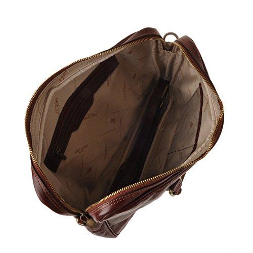 Pellevera Amato Italian Leather Laptop Arbeit Aktentasche (rot) braun