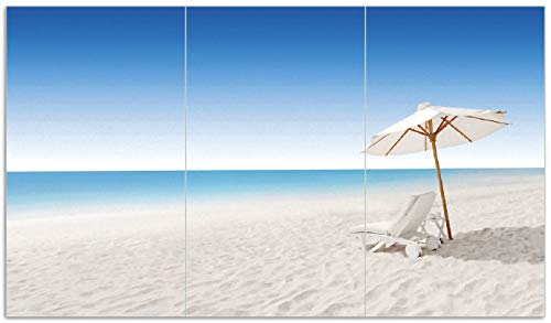 Wallario Herdabdeckplatte/Spritzschutz aus Glas, 3-teilig, 90x52cm, für Ceran- und Induktionsherde, Sonnenliege am weißen Strand unter blauem Himmel