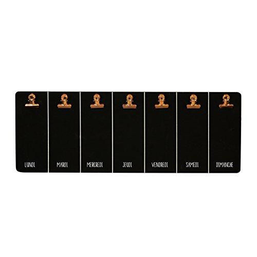 THE HOME DECO FACTORY HD3300 Mémo Ardoise Semaine MDF Noir/Cuivre 50,30 x 2,70 x 18,20 cm