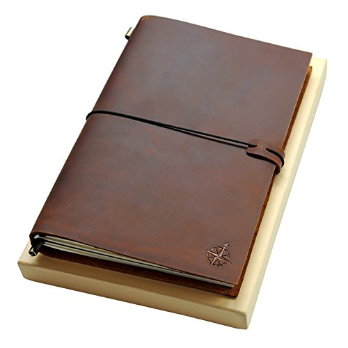 Diario de Cuero Grande | Cuaderno de Viaje Recargable Grande | Perfecto para escribir, dibujar, álbumes de recortes, Regalos para Hombres, Mujeres, Viajeros, Inserciones en blanco - 28 x 19cm