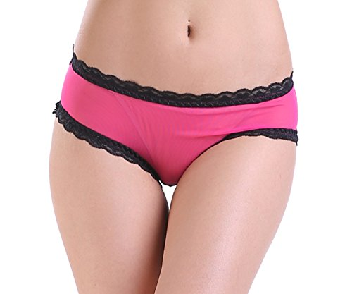 Mesh Polka Dots Dessous-set (ELEIN Damen Sexy Spitze Frech Fliege Höschen Transparent Punktmuster Unterhosen Tanga Unterwäsche(Pink,M))