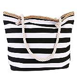 Funtlend Damen Strandtasche Groß mit Reißverschluss-XL Maritime Streifen Schwimmbadtasche Shopper...