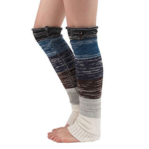 Preisvergleich Produktbild Fletion Neu Bunt Stitching Lange Socken Kniestrümpfe Herbst und Winter Wollen Legwarmers Frau Stricken Fußwärmer