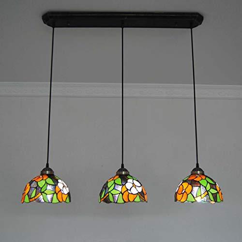 Mini Tiffany Stil Hängende Lampe, Rote Blume Dekoration Anhänger Beleuchtung, 8 Zoll 3 Kopf Handgemachte Löten Deckenleuchte Für Schlafzimmer, 220/110V - Tiffany Mini Anhänger Lampe