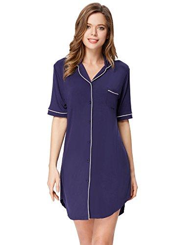 Blue Damen-nachthemd (Zexxxy Damen Nachthemd Langarm Pyjama Top Revers Schlaf Shirt Kleid Gr. XX-Large, Navy Blue-1)