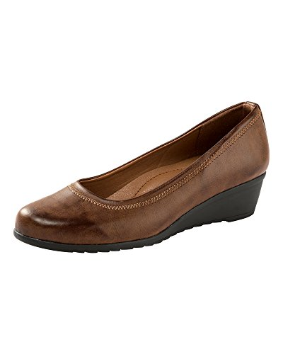 Cotton Traders Womens Ladies Wedge Shoes Classic Casual Cushioned Comfort D Fit Tan 5