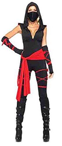 harrowandsmith schwarz V-Ausschnitt Sexy Piraten Kostüme Frau Sexy Ninja Erwachsene Schwarz und Rot Maske Overall mit Kapuze hslb2100, UK 8–10 (Ninja Halloween Kostüme Für Frauen)