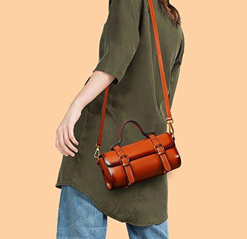Borse Da Donna Borse 2018 Nuova Borsa Messenger Borsa A Tracolla Vintage In Pelle Vacchetta Moda Casual Mini Tote Bag (Giallo Verde Nero Rosso Marrone) Black