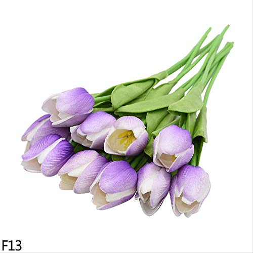 Dxqy fiore artificiale 10 pz bianco rosso rosa tulipani vero tocco tulipani fiore artificiale per la festa nuziale decorazione della casa fiore falso bouquet da sposa regalo 5 pz b13 viola 2