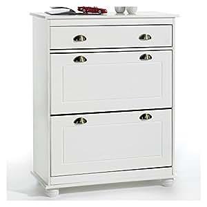 meuble rangement chaussures colmar pin lasur blanc cuisine maison. Black Bedroom Furniture Sets. Home Design Ideas