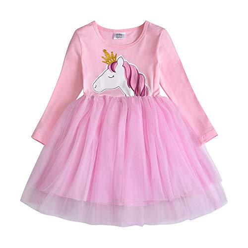 VIKITA Mädchen Kleider Sommerkleid Blume Baumwolle Lässige Kinderkleidung Gr. 92-128 LH4576 6T 3 Kleid