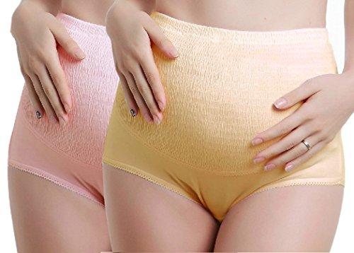 iLoveSIA 2Pack Womens Maternity Panties Knickers Cotton Briefs Pregnancy Underwear Pink+Beige UK Size 16-18