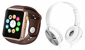 MIRZA Bluetooth A1 Smart Wrist Watch & Extra Extra Bass XB450 Headphones for SAMSUNG GALAXY NOTE 3 NEO(Extra Extra Bass XB450 Headphones & A1 Smart Watch Watch Phone with Camera & SIM Card Support Hot Fashion New Arrival Best Selling Premium Quality Lowest Price with Apps like Facebook,Whatsapp, Twitter, Sports, Health, Pedometer, Sedentary Remind,Compatible with Android iOS Mobile Tablet-Assorted Color)
