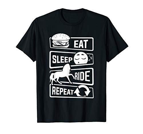 Reiten T-Shirt Eat Sleep Ride Repeat | Pferdeliebhaber Pferd -