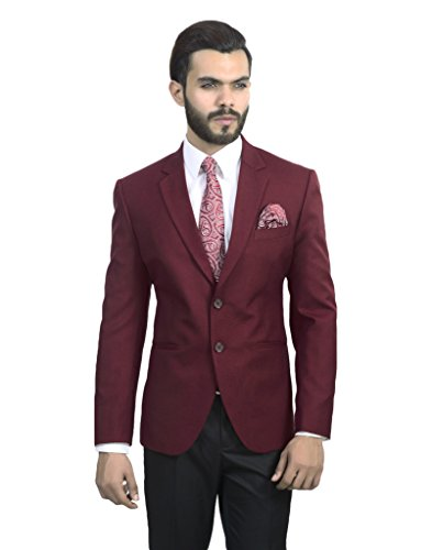 ManQ Maroon Slim Fit Formal/Party Men's Blazer  available at amazon for Rs.1800