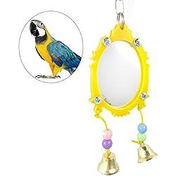 UEETEK Fantasía espejo pájaro loro juguete jaula de pájaros ornamento colgante con campanas