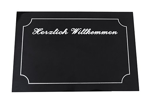 """Zeitgemäßes farbiges Aluminium Türschild (150 x 100 mm): """"Herzlich Willkommen"""" mit SOFORTGRAVUR + VORSCHAU: für Haustür oder Briefkasten zum Kleben in verschiedene Farben: mit 3 zeilige Gravur inklusive."""