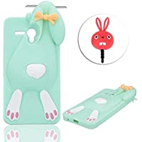 "Alcatel One Touch Pop 3 5.5 Funda de Silicona Suave 3D Patrón Diseño Dibujos Animados de Conejito Case Cover, Vandot 2 in 1 Lindo y Elástico Rubber Funda Cartoon Buck Teeth Bunny Rabbit Carcasa Protector con enchufe anti del polvo para Alcatel One Touch Pop 3 5.5"" 5025D - Color Verde"