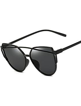 Moderno Moda gafas de sol espejo Ojo de Gato Gafas polarizadas Negro Naranja