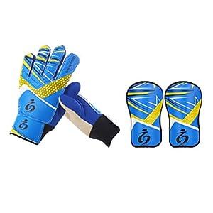 LIOOBO Torwarthandschuhe mit Torwartpads Kinder-Goalie-Ausrüstungsset für Fußball-Eishockey – Größe 7 (Blau)