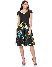 dc5dbb035a9165 Roman Originals Damen Fit-und-Flare Scuba-Kleid mit Blumen-Print - Damen  knielange Skater-Kleider mit…