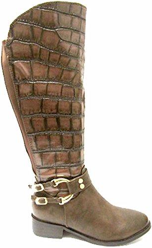 Mesdames Effet Glamour Croc genou haute Bottes Marron - marron