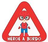 Haberdashery Online Pegatina Adhesiva Bebé a Bordo. Adhesivo vinilo para coche o moto. 16 x 14'5 cm. (30. Spiderman)
