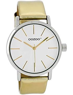 Oozoo Damen-/ Kinderuhr mit Lederband 40 MM Weiss/Gold JR276