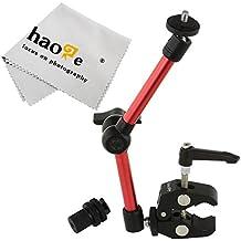 haoge 11inch articular fricción brazo mágico con pequeño abrazadera cangrejo alicates clip para HDMI monitor LCD luz LED cámara de vídeo DSLR trípode rojo