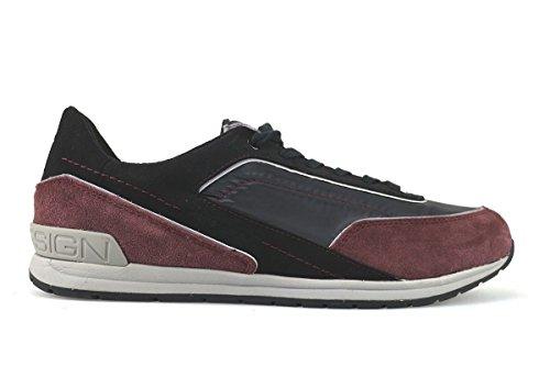 scarpe uomo MOMO DESIGN sneakers nero / bordeaux camoscio / tessuto AK945 (43 EU)