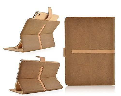 Jellybean Wildleder Geldbörse Leder Flip Cover Schutzhülle für iPad Air 1, 2 plus Eingabestift – Braun Hellbraun (Geldbörse Brown-leder-gefaltete -)