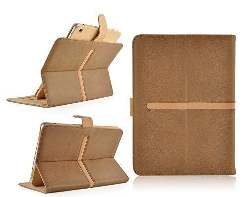 Jellybean Wildleder Geldbörse Leder Flip Cover Schutzhülle für iPad Air 1, 2plus Eingabestift–Braun Hellbraun (Brown-leder-gefaltete - Geldbörse)