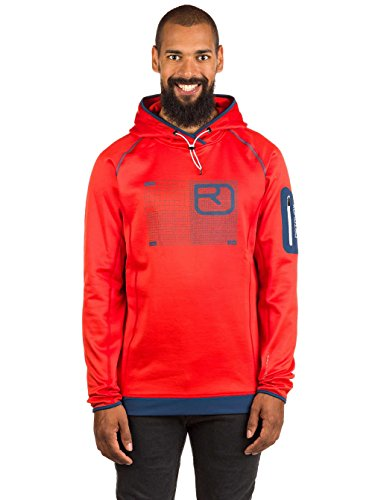 Ortovox Herren Fleece Logo Hoody M Jacket, Crazy orange, L
