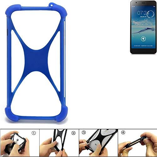 K-S-Trade Handyhülle für Jiayu S3+ Silikon Schutz Hülle Cover Case Bumper Silikoncase TPU Softcase Schutzhülle Smartphone Stoßschutz, blau (1x)