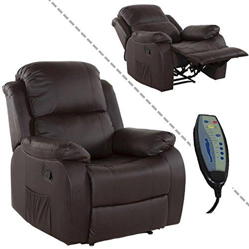 Fernsehsessel mit Massage, Heizung Liegefunktion - TV Relaxsessel Kunstleder braun (Schlaf-massage-stuhl)