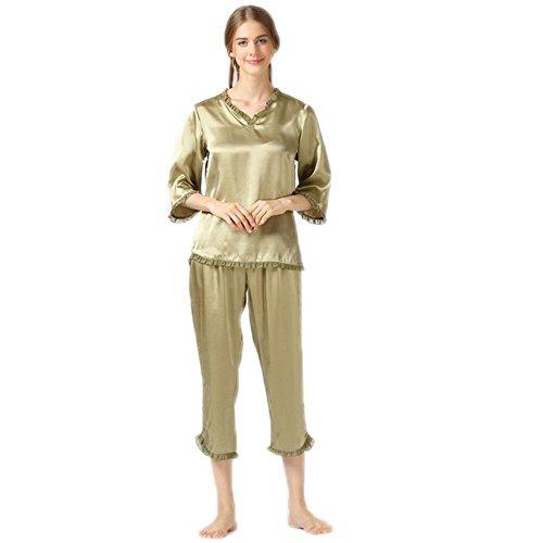 CHUNHUA Damen winter High-End-Seide 100 % Seide Langarm V Hals Nachtwäsche nach Hause Qualitätskleidung zweiteilige B