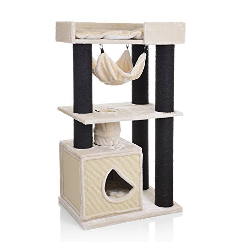 CanadianCat Company ® | Kratzbaum Winsor 2 beige XXL mit besonders großen Sisalsäulen für große & schwere Katzen