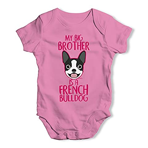 Twisted Envy Baby Unisex Personalised My Sibling Is A French Bulldog Baby Grow Bodysuit 3 - 6 Months