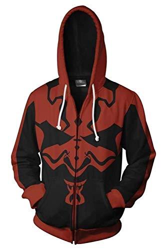 MingoTor Herren Damen Darth Maul Star Wars Zip Up Kapuzenpullover Reißverschluss Sweatshirt Pullover Hoodie 3D Unisex